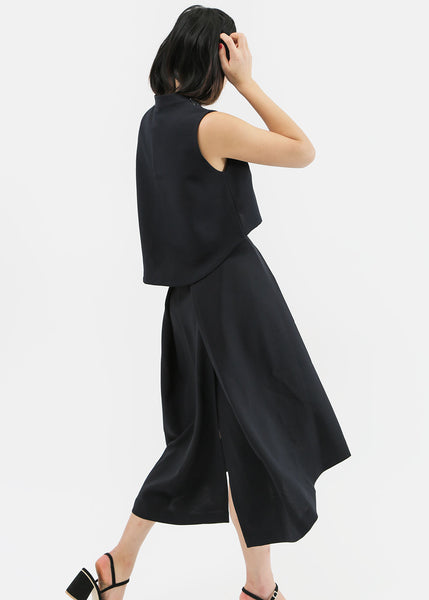 Kaarem Black Piece of Ring Pleated Midi Skirt — New Classics Studios