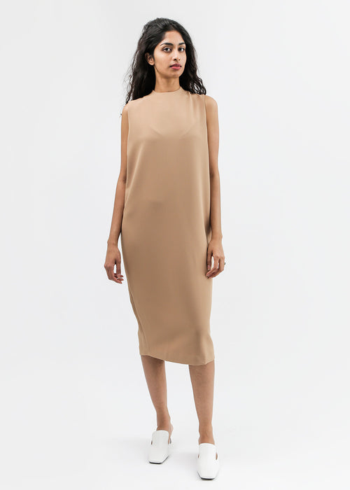 Kaarem Camel Dill High Collar Dress — New Classics Studios