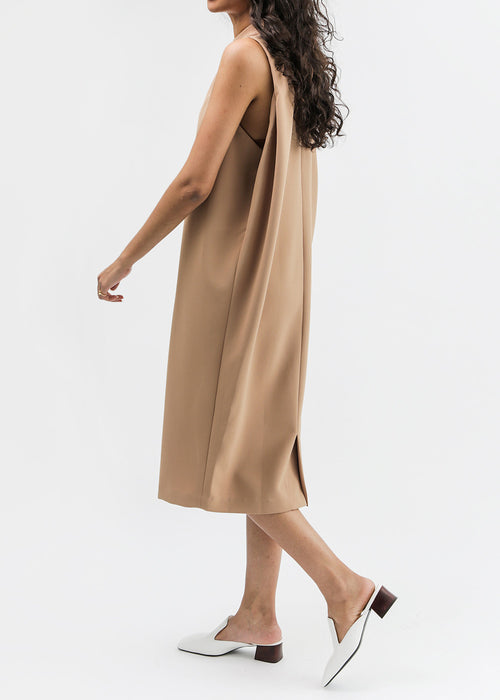 Camel Dill High Collar Dress