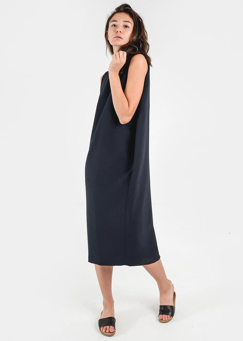 Kaarem Black Dill High Collar Dress — New Classics Studios