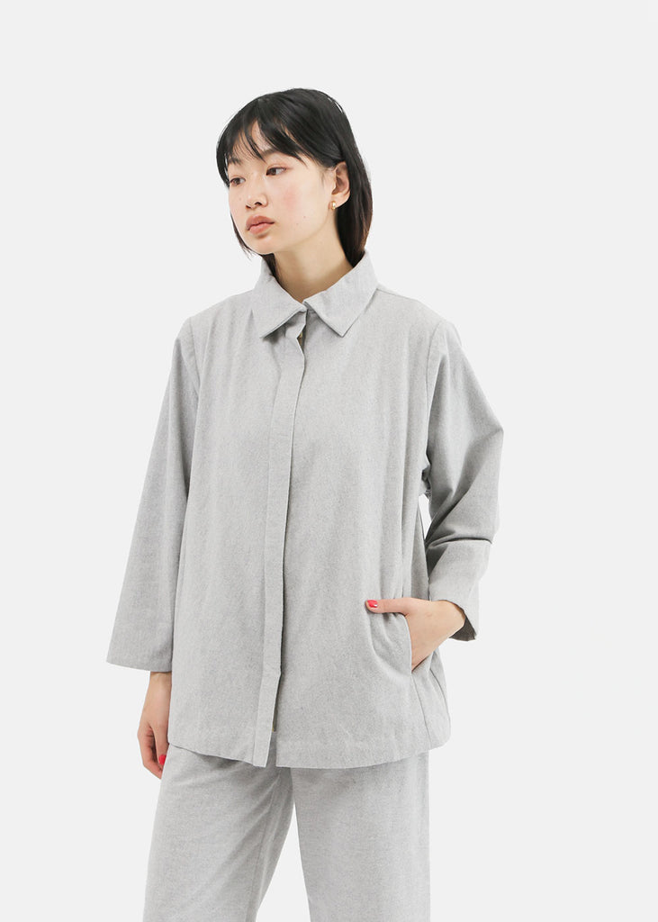 Kaarem Eucalyptus Collar Jacket — Shop sustainable fashion and slow fashion at New Classics Studios