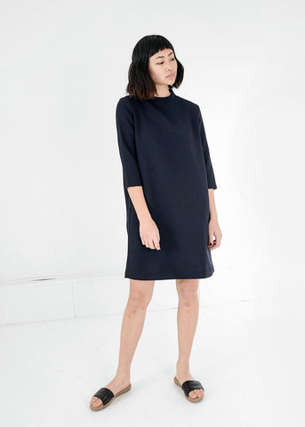 Black Pure 3/4 Sleeve Mockneck Dress