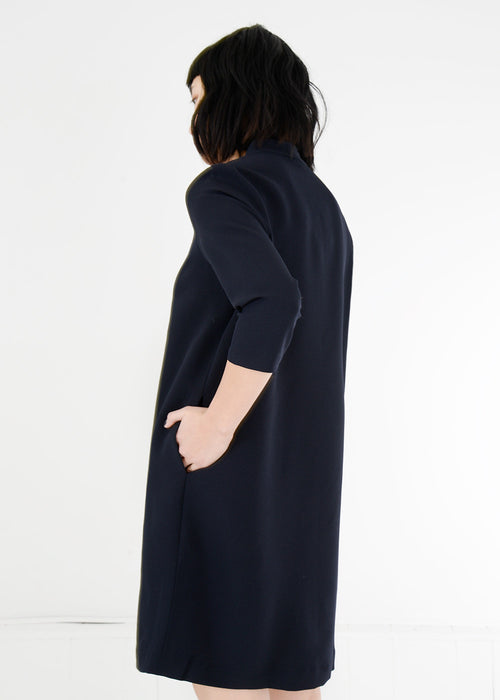 Kaarem Black Pure 3/4 Sleeve Mockneck Dress — New Classics Studios