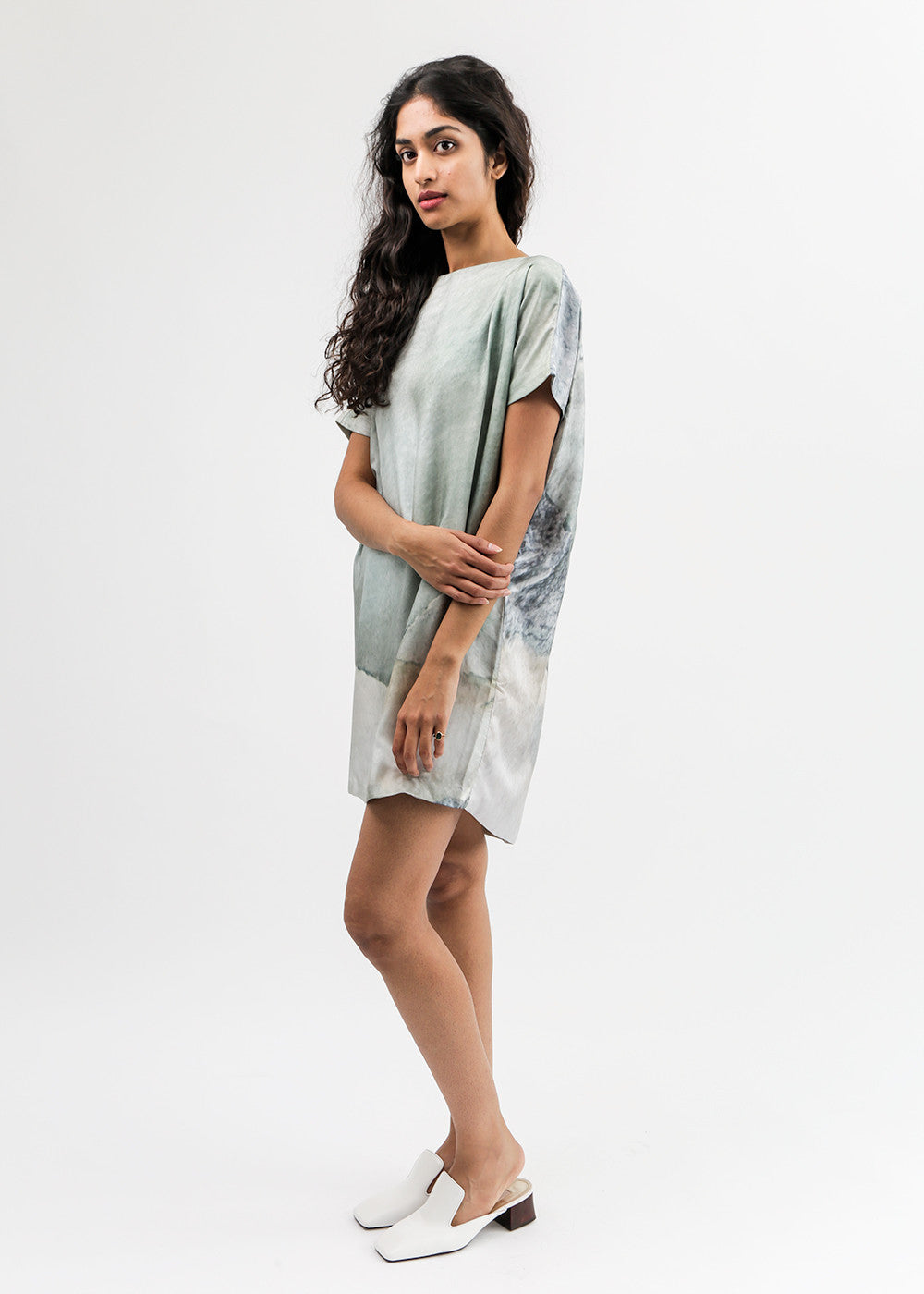 Bark Print Angle Mini Dolman Open Back Dress