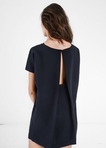Black Angle Mini Dolman Open Back Dress