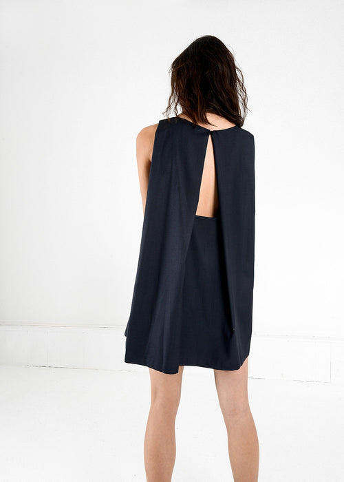 Kaarem Midnight Blue Tyh.d Boatneck Open Back Dress — New Classics Studios