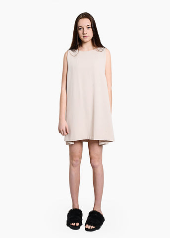 Cream Tyh.d Boatneck Open Back Dress