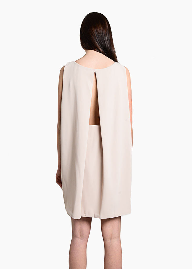 Kaarem Cream Tyh.d Boatneck Open Back Dress — New Classics Studios