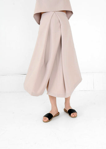 Cream Piece of Ring Pleated Midi Skirt