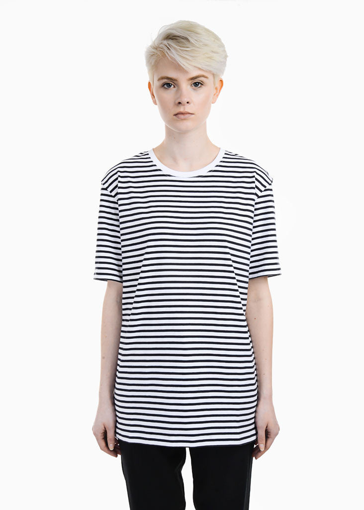 Sustainable organic cotton fair trade striped Kowtow T-shirt from New Classics Studios. We Ship worldwide from Canada.