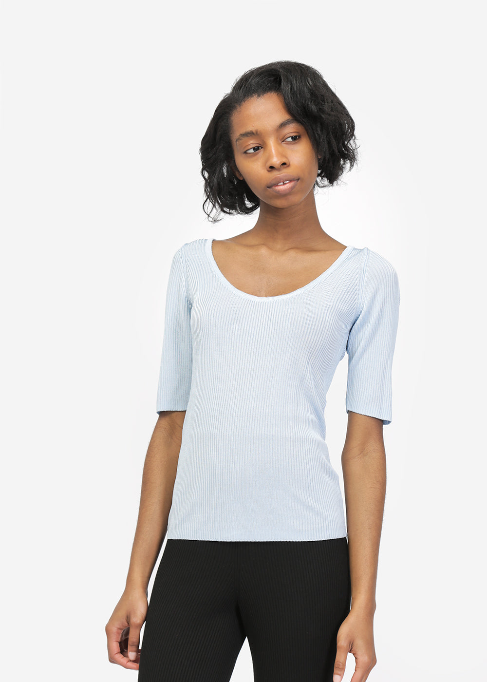 Suzanne Rae Short Sleeve Scoop Neck Knit — New Classics Studios