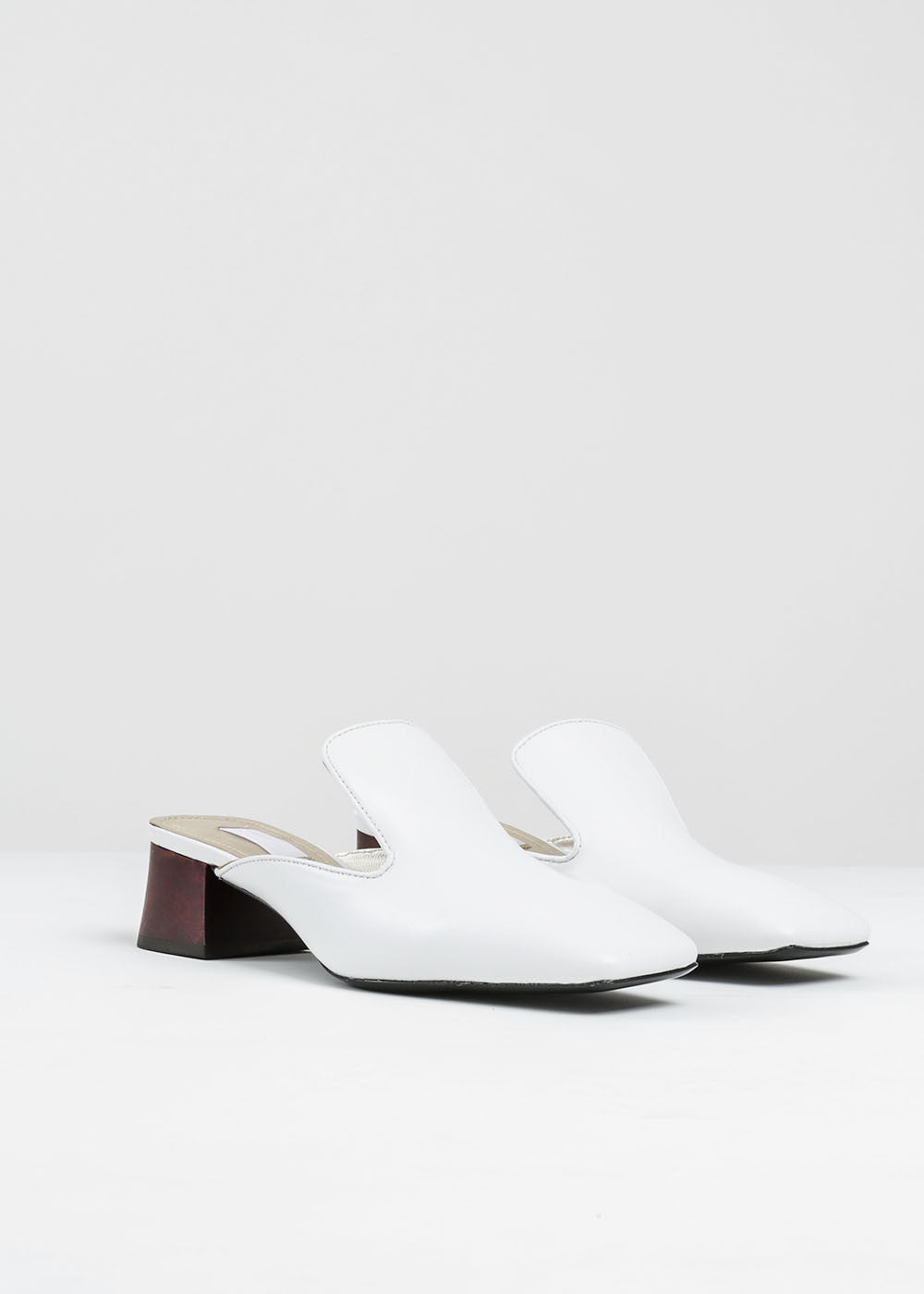 Suzanne Rae White Leather Mule — New Classics Studios
