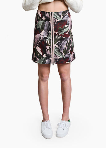 Palm Print Zipper A-Line Skirt