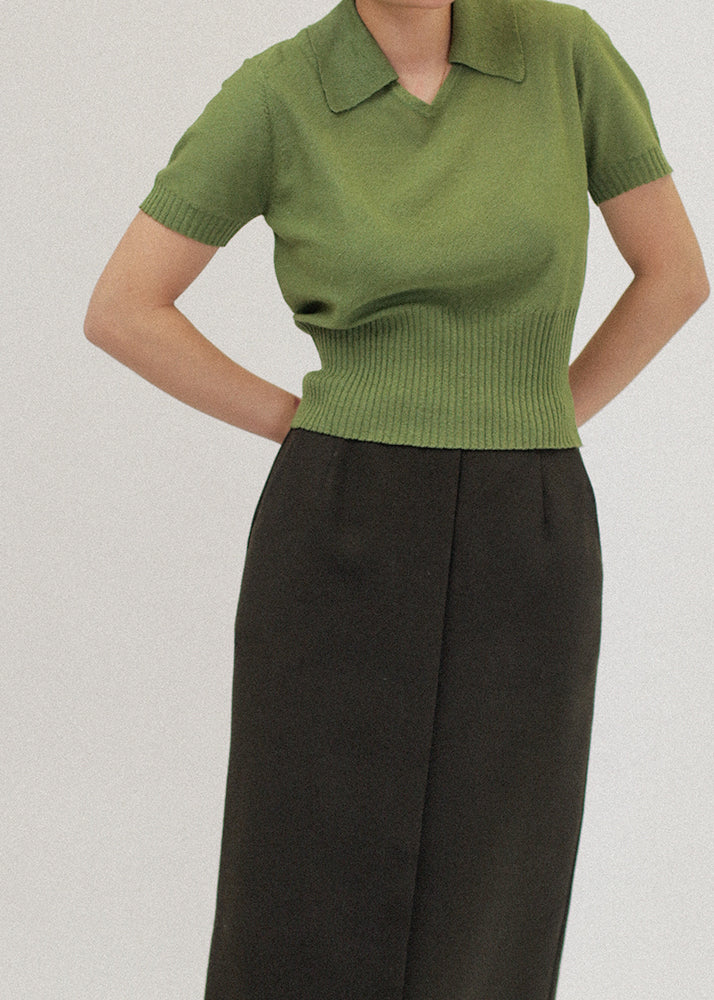 Vintage Green Collared Top