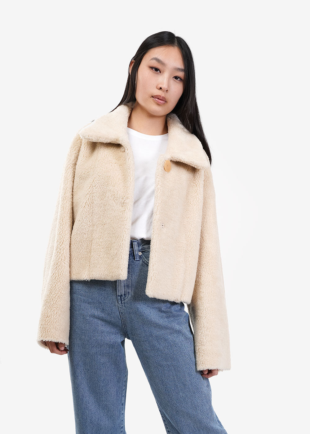 AMOMENTO Shearling Button-Up Jacket — New Classics Studios