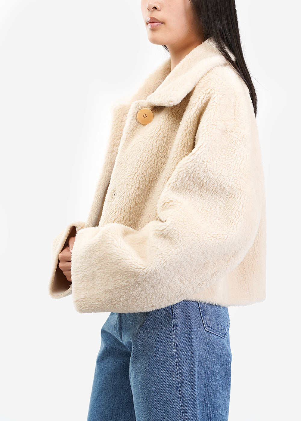 AMOMENTO Shearling Button-Up Jacket — Shop sustainable fashion and slow fashion at New Classics Studios