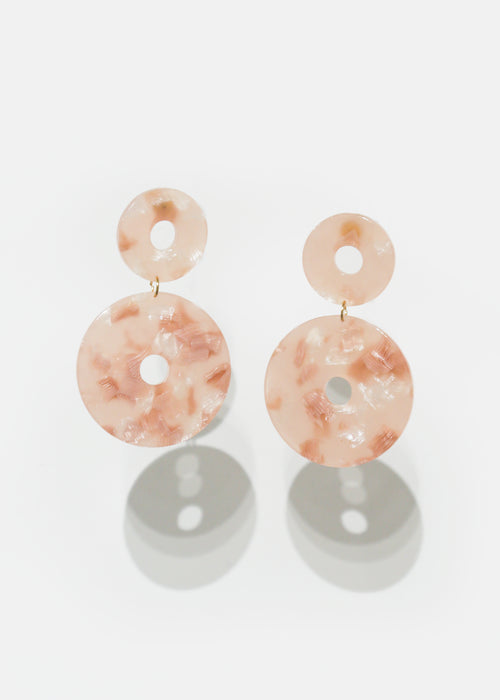 Iced Pink Scabiosa Earrings