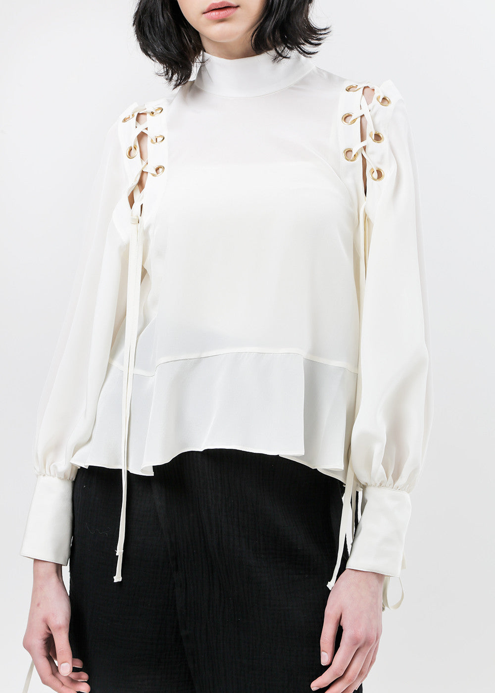 Arcana NYC Eyre Lace-Up Blouse — Shop sustainable fashion and slow fashion at New Classics Studios