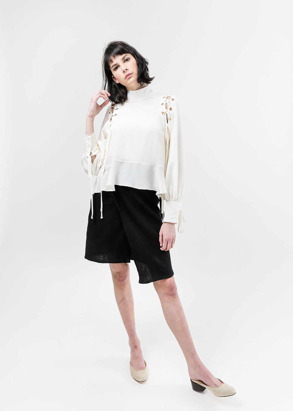 Eyre Lace-Up Blouse