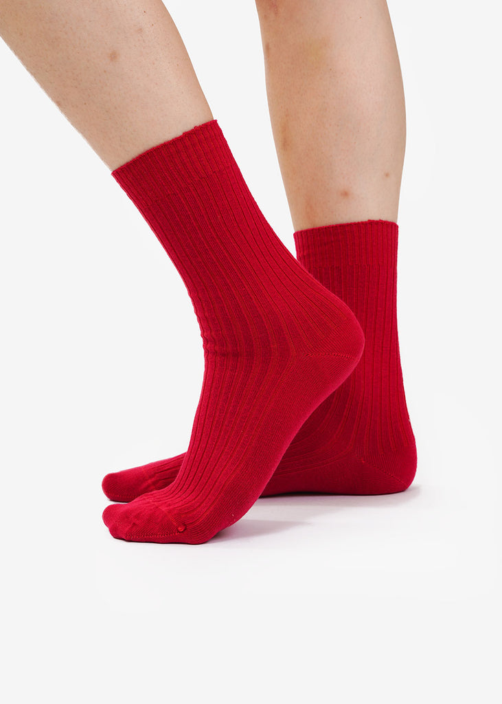 Baserange Ibin Burgundy Rib Ankle Socks — Shop sustainable fashion and slow fashion at New Classics Studios