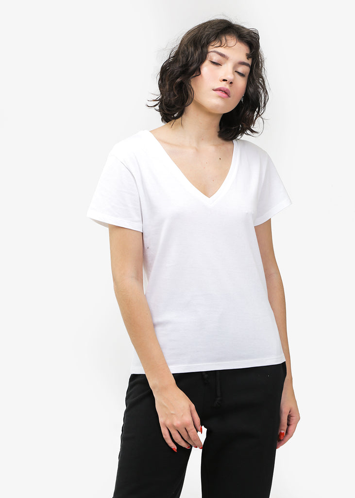 Baserange Off-White V Neck Tee — Shop sustainable fashion and slow fashion at New Classics Studios