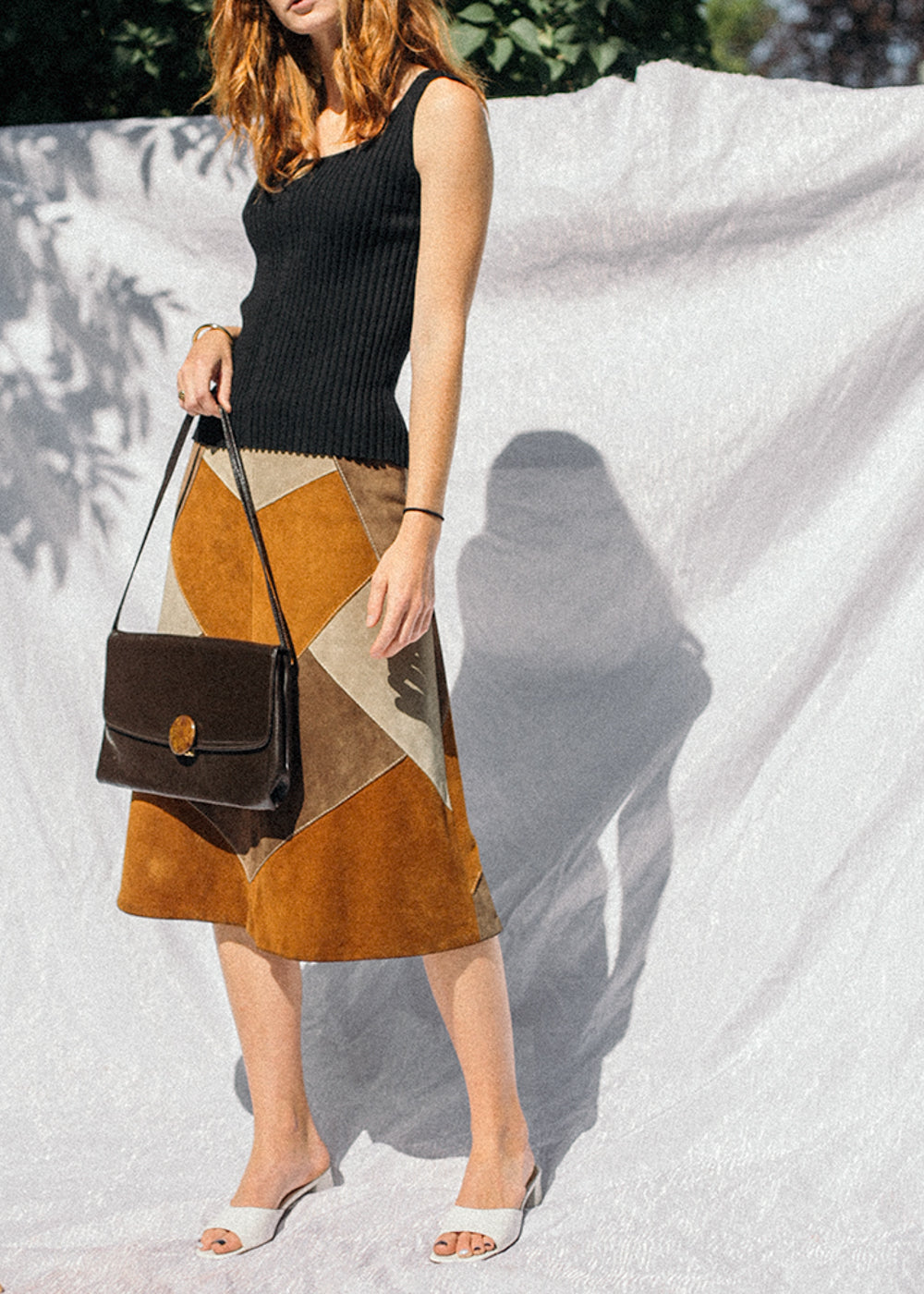 Vintage Patch Leather Skirt