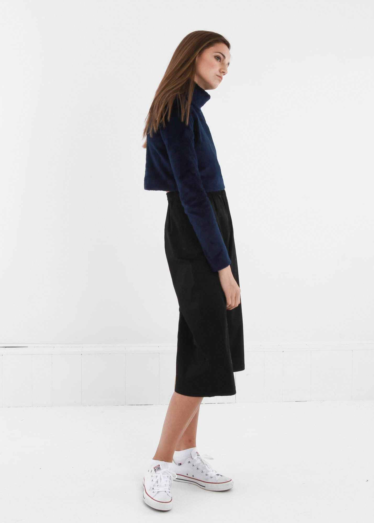 Carleen Navy Funnel Neck Sweater — New Classics Studios