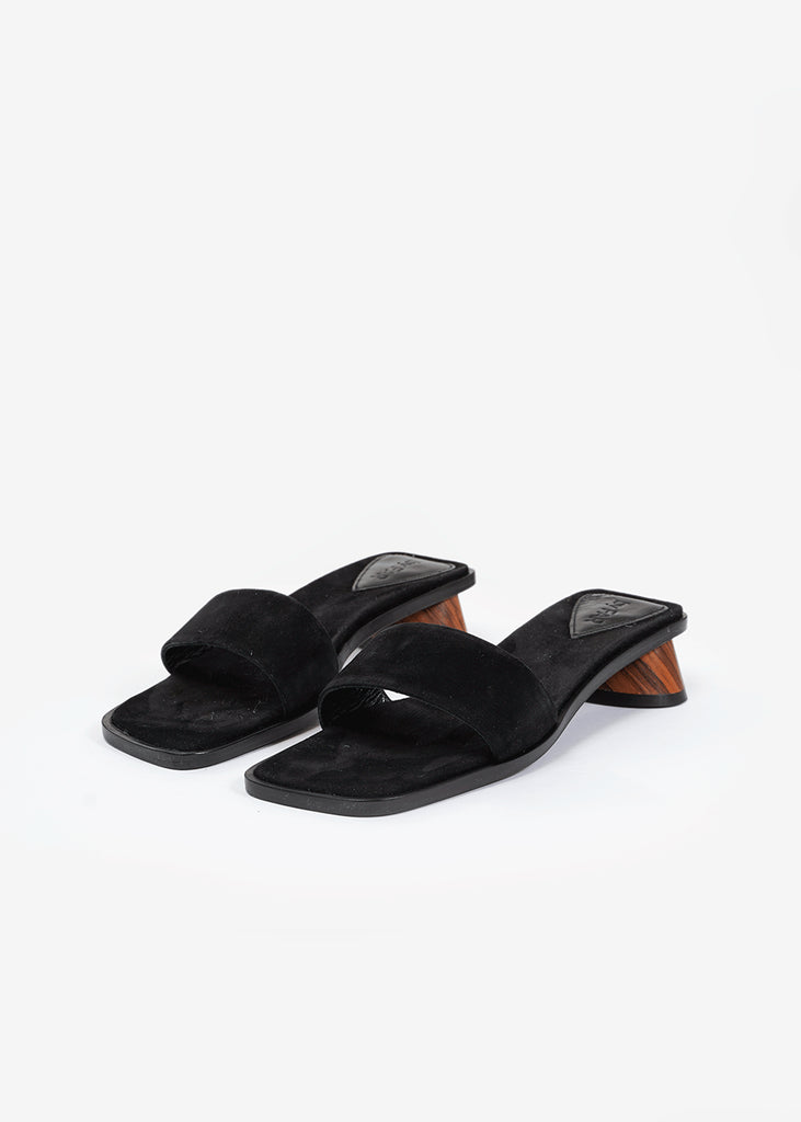 BY FAR Black Suede Sonia Mule — Shop sustainable fashion and slow fashion at New Classics Studios