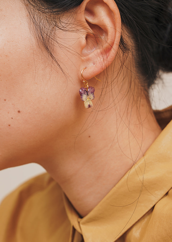 Mini Violet Pansy Earring