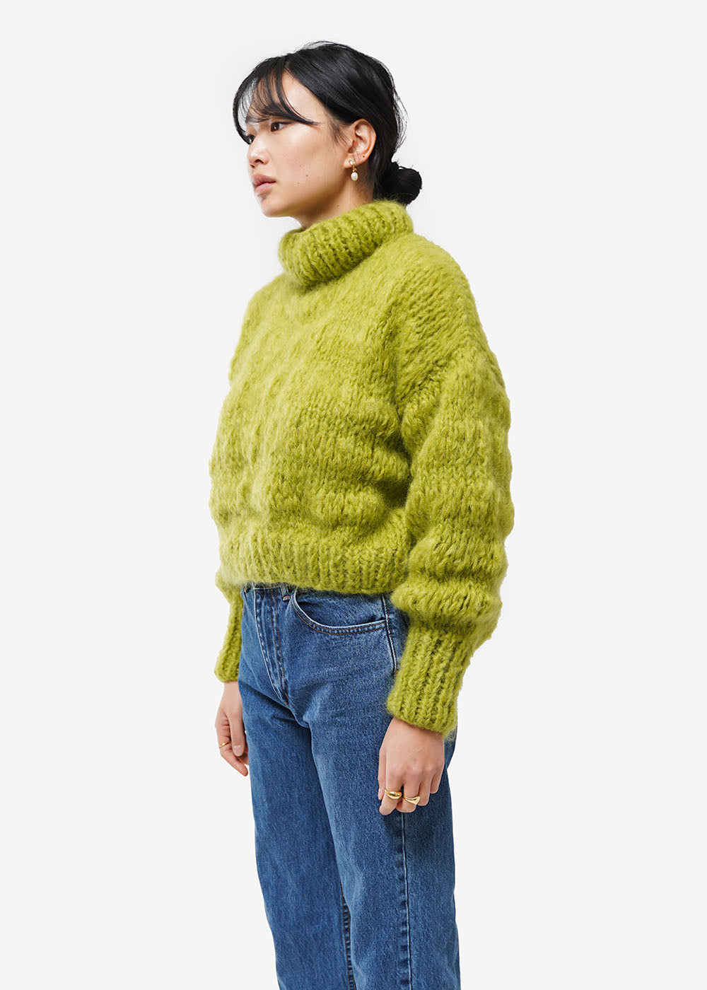 Frisson Knits Chartreuse Isabella Sweater — Shop sustainable fashion and slow fashion at New Classics Studios