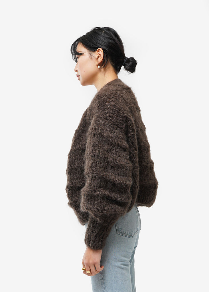 Frisson Knits Chocolate Becca Cardigan — Shop sustainable fashion and slow fashion at New Classics Studios