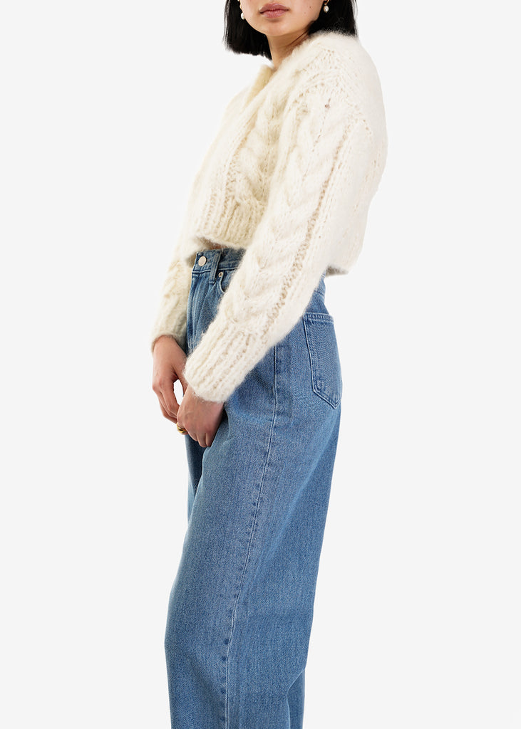 Frisson Knits Cream Francesca Cardigan — Shop sustainable fashion and slow fashion at New Classics Studios