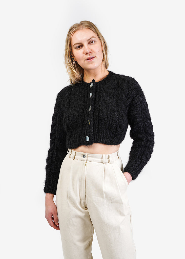 Frisson Knits Black Francesca Cardigan — Shop sustainable fashion and slow fashion at New Classics Studios