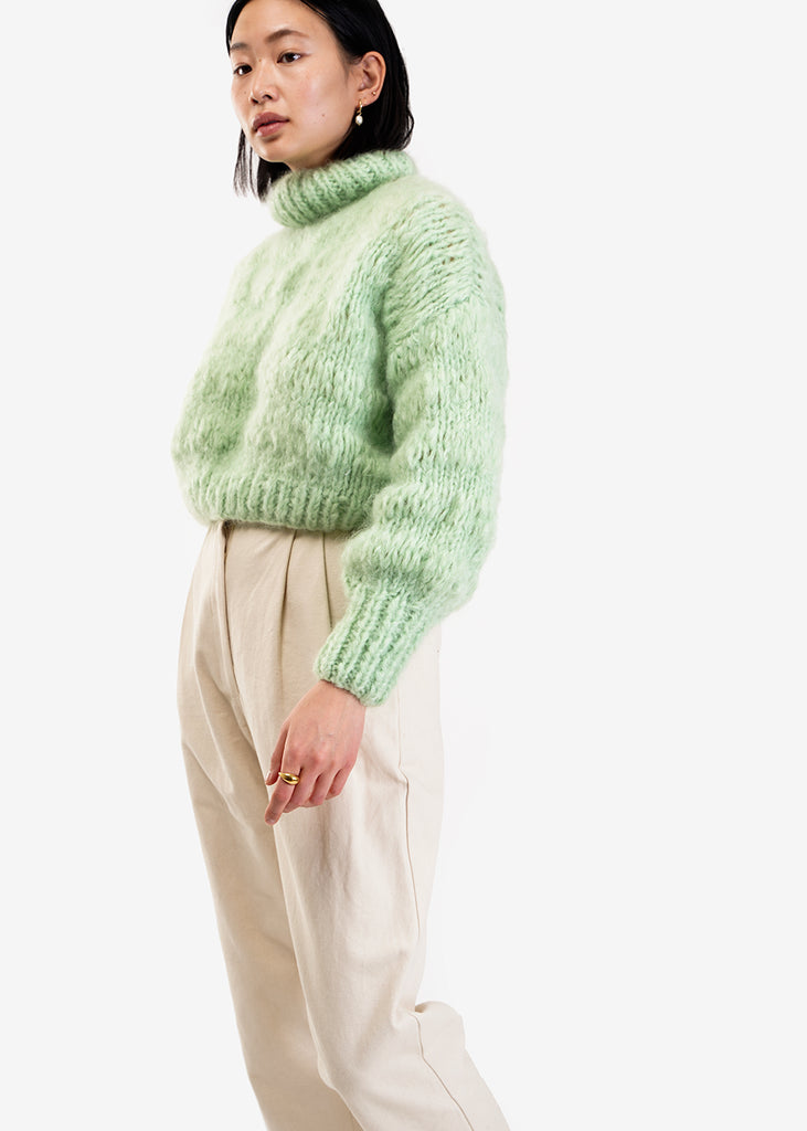Frisson Knits Mint Isabella Sweater — Shop sustainable fashion and slow fashion at New Classics Studios