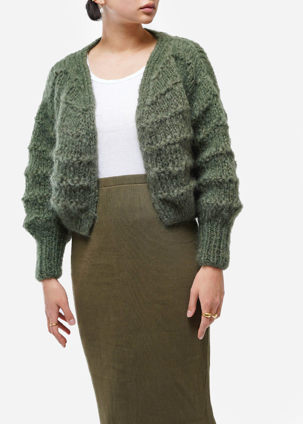 Frisson Knits Moss Becca Cardigan — Shop sustainable fashion and slow fashion at New Classics Studios