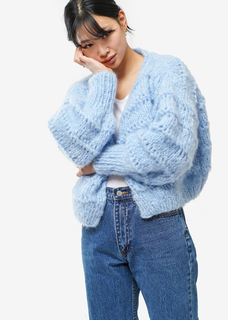 Frisson Knits Sky Blue Becca Cardigan — Shop sustainable fashion and slow fashion at New Classics Studios