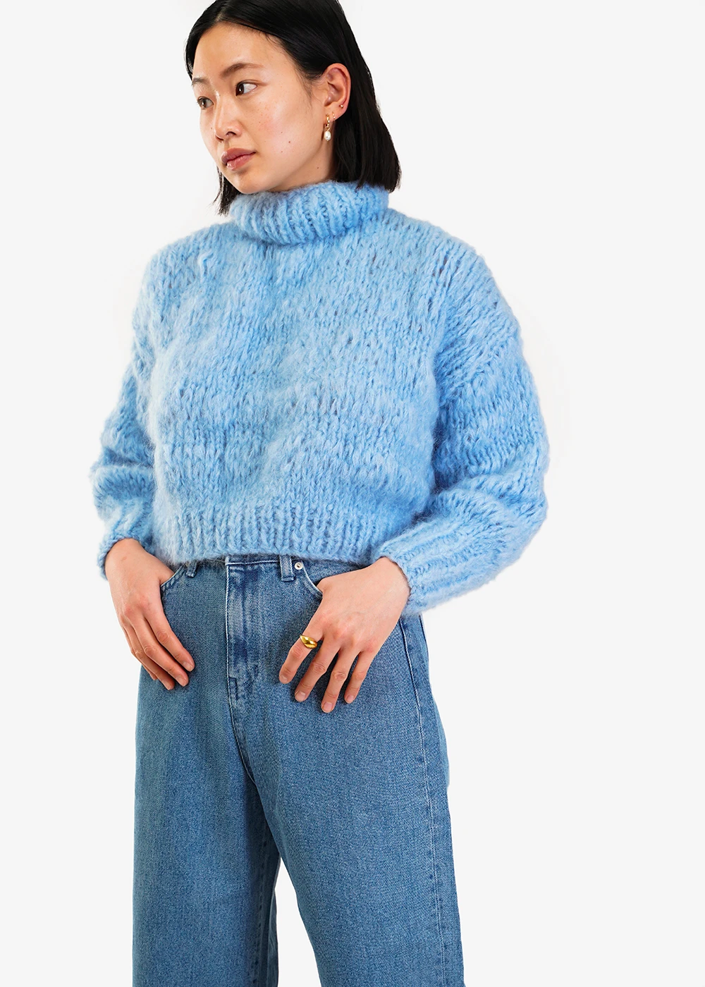 Frisson Knits Sky Blue Isabella Sweater — Shop sustainable fashion and slow fashion at New Classics Studios