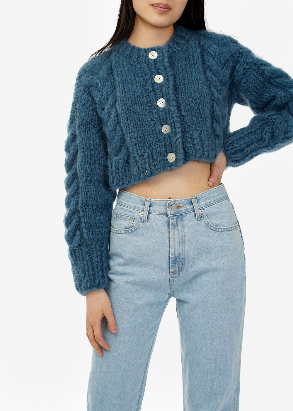 Frisson Knits Denim Francesca Cardigan — Shop sustainable fashion and slow fashion at New Classics Studios