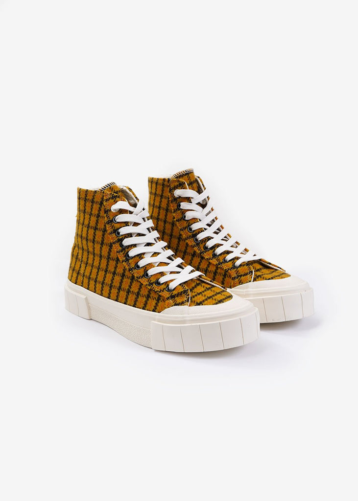 GOOD NEWS Mustard Check Softball 2 Hi Sneakers — New Classics Studios