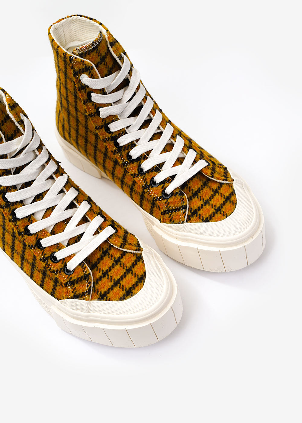GOOD NEWS Mustard Check Softball 2 Hi Sneakers — Shop sustainable fashion and slow fashion at New Classics Studios