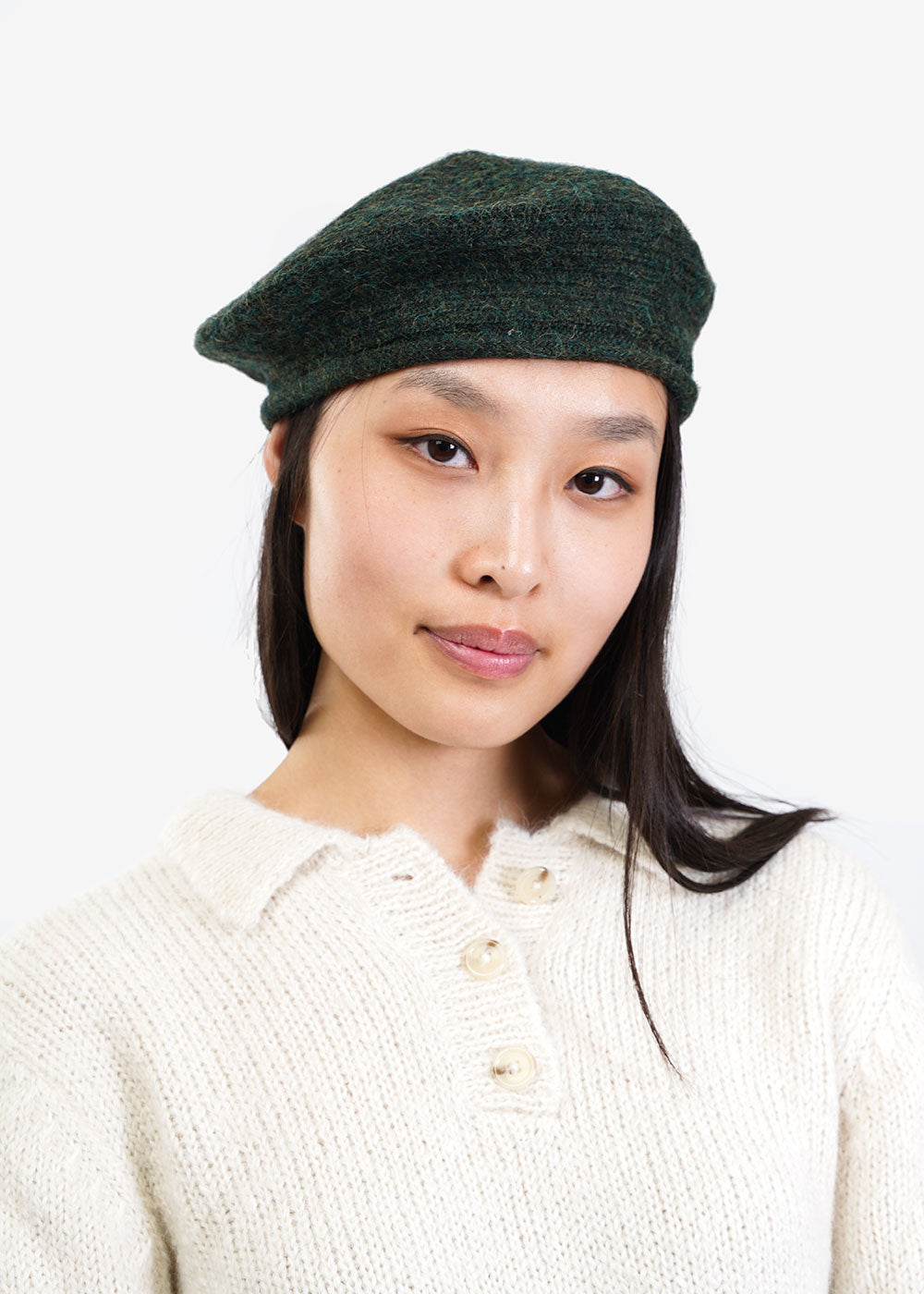 kordal hand made knit moss beret sustainable fashion new classics studios canada