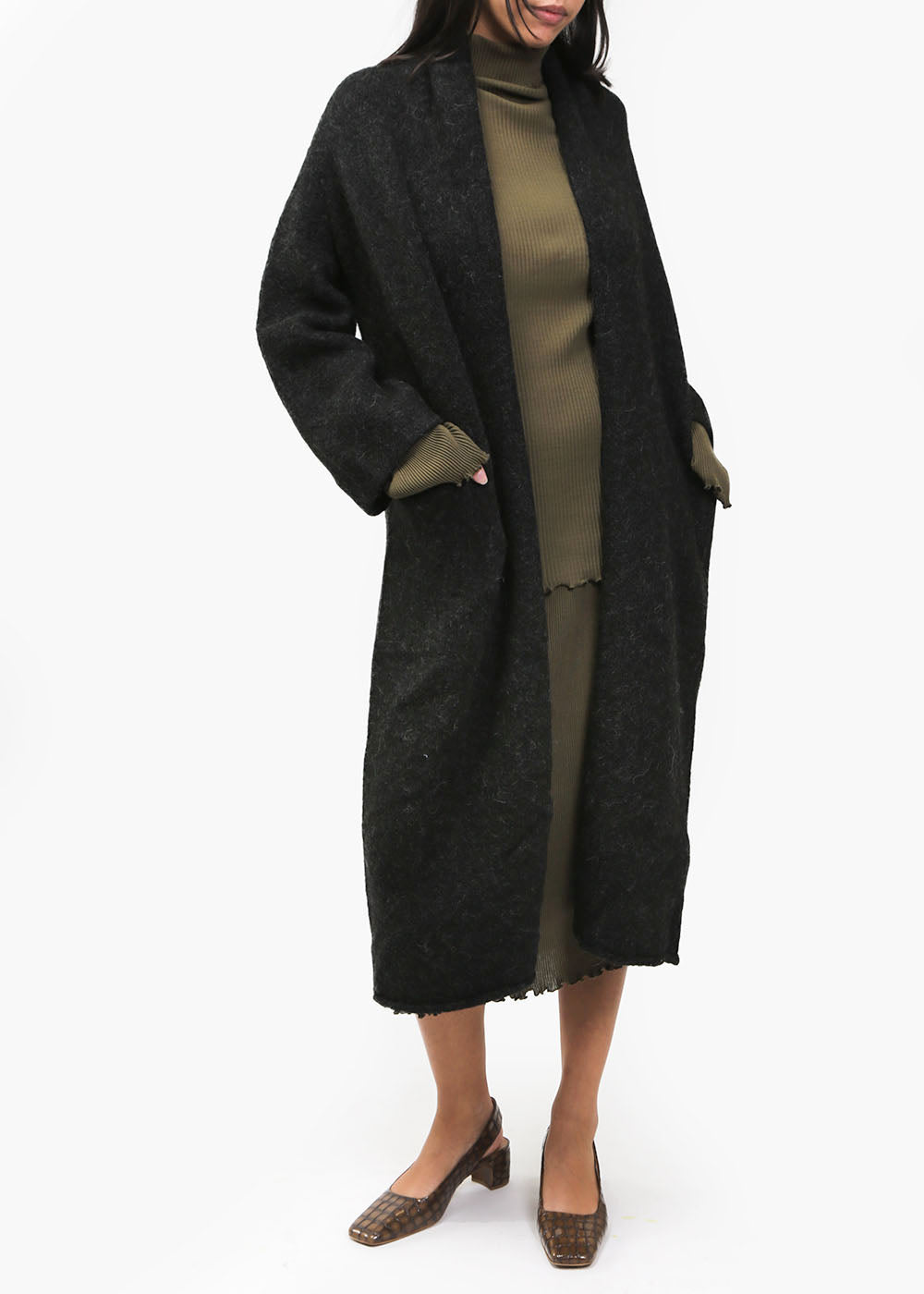Lauren Manoogian Black Long Shawl Cardigan — New Classics Studios