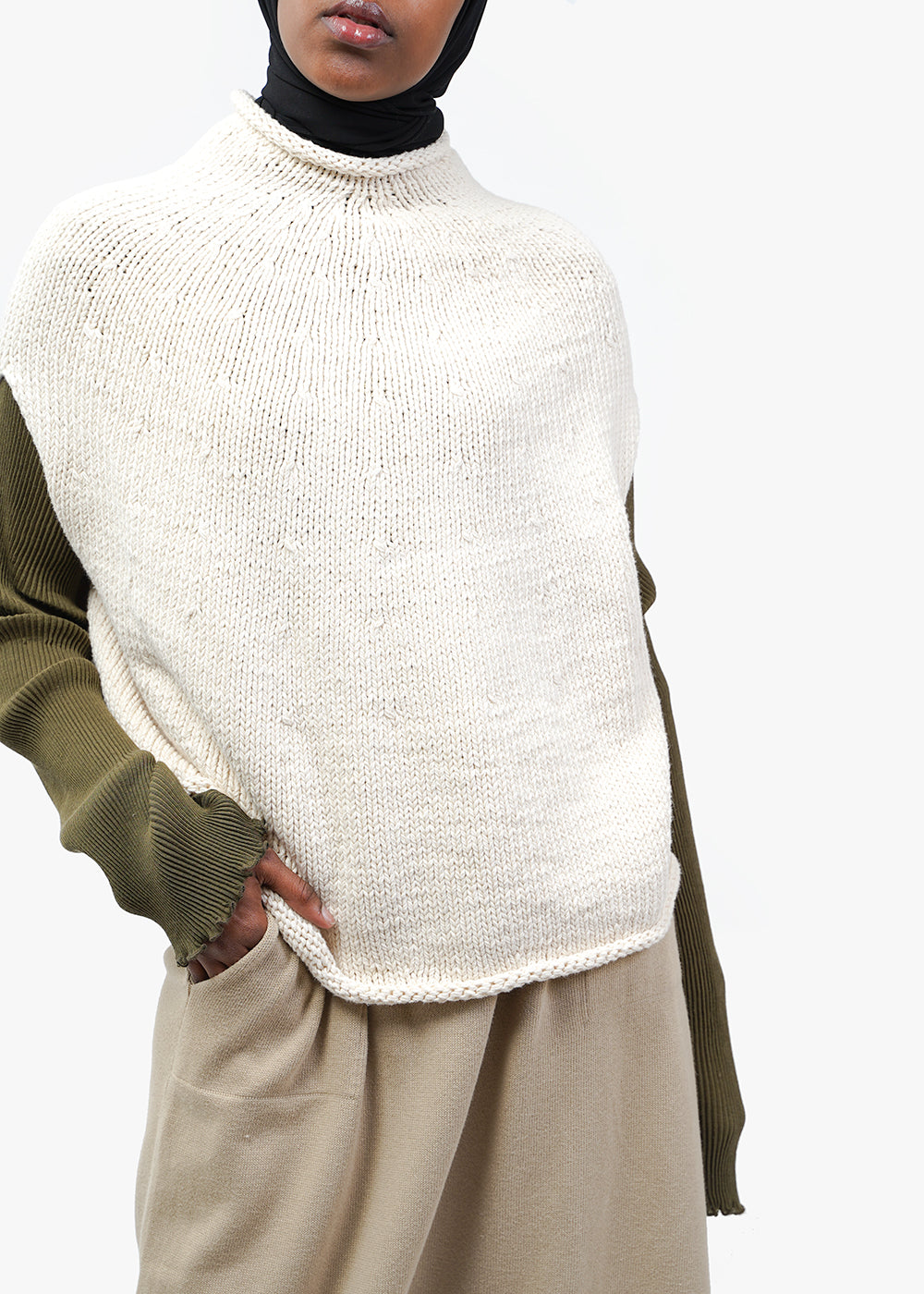 Lauren Manoogian Handknit Yoke Poncho — Shop sustainable fashion and slow fashion at New Classics Studios