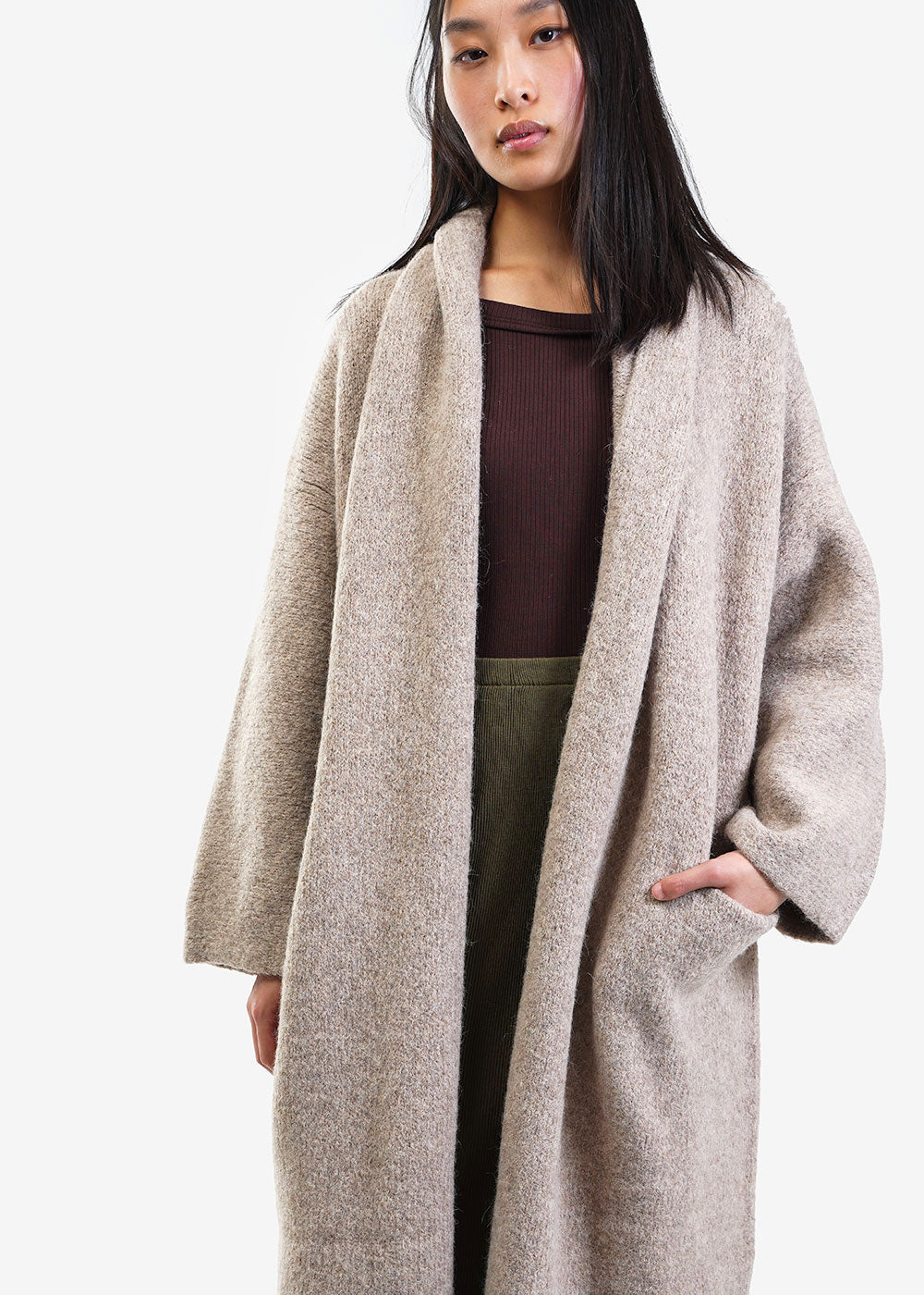 Lauren Manoogian Oatmeal Long Shawl Cardigan — Shop sustainable fashion and slow fashion at New Classics Studios