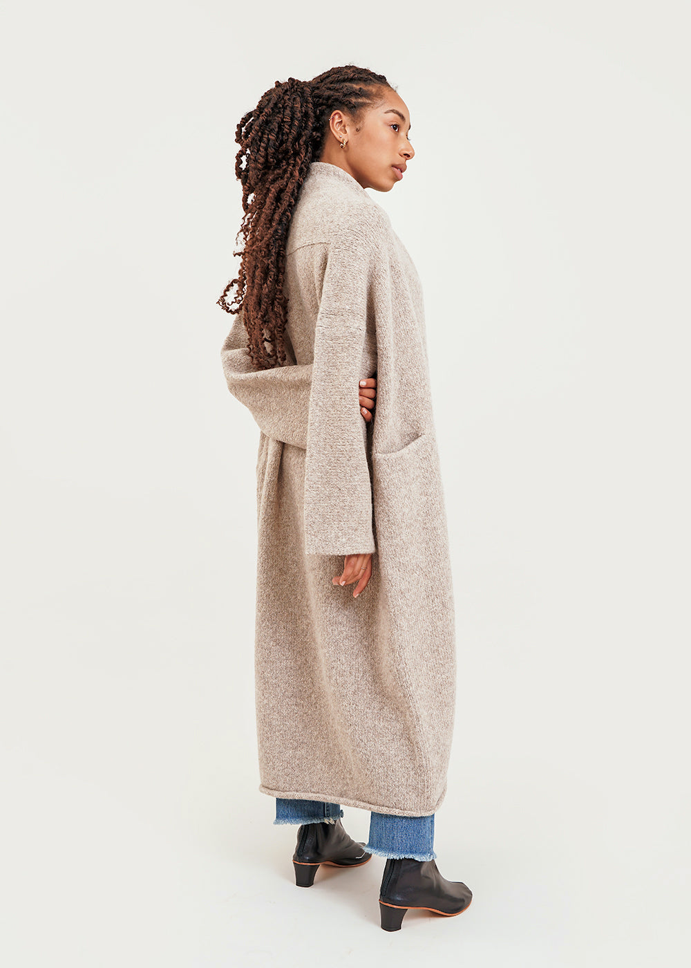 Oatmeal Long Shawl Cardigan
