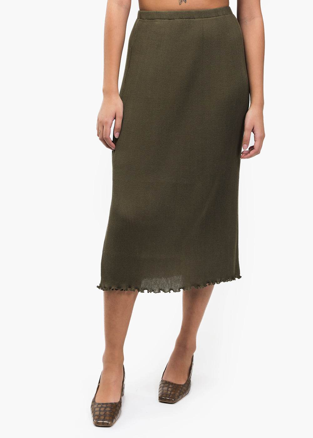 Lauren Manoogian Olive Accordion Skirt — Shop sustainable fashion and slow fashion at New Classics Studios