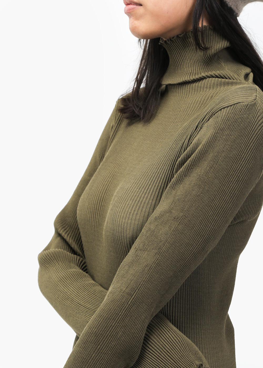 Olive Accordion Turtleneck