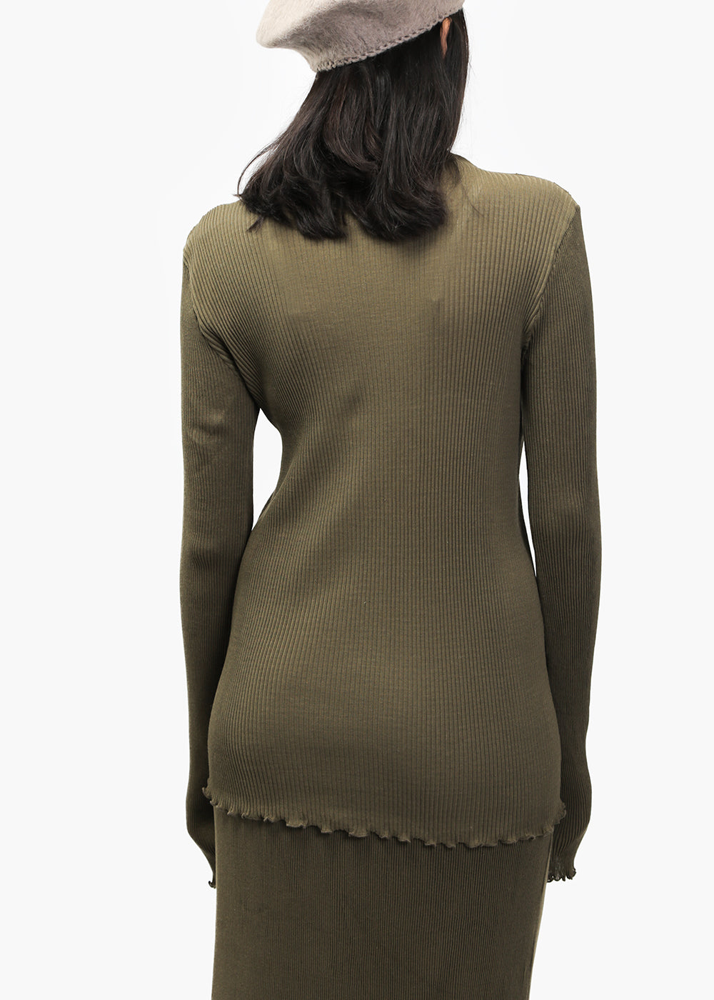 Lauren Manoogian Olive Accordion Turtleneck — Shop sustainable fashion and slow fashion at New Classics Studios
