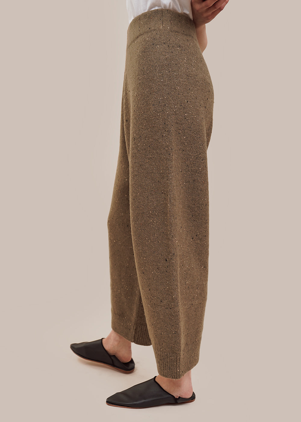 Olive Tweed Wide Pants