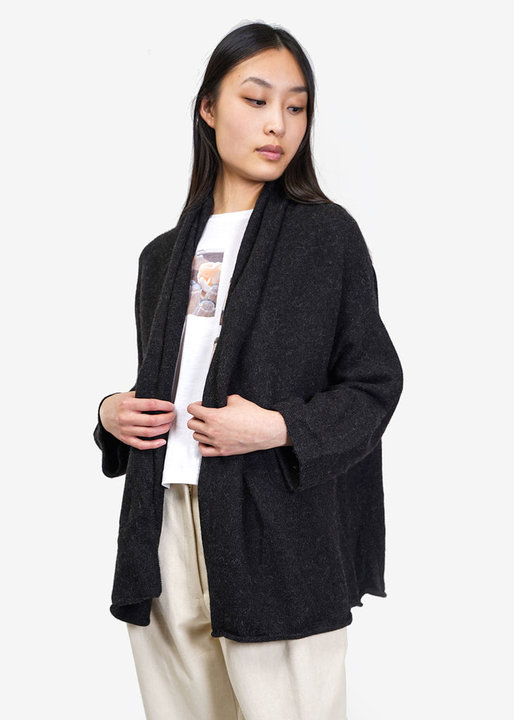 Lauren Manoogian Black Melange Slouch Cardigan — Shop sustainable fashion and slow fashion at New Classics Studios